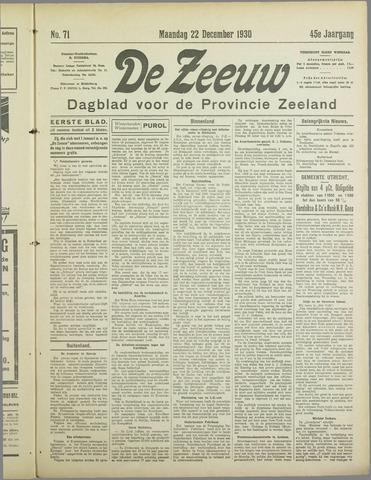 De Zeeuw. Christelijk-historisch nieuwsblad voor Zeeland 1930-12-22