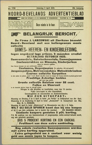 Noord-Bevelands Nieuws- en advertentieblad 1932-04-02
