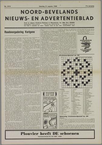 Noord-Bevelands Nieuws- en advertentieblad 1968-08-31