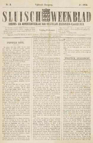 Sluisch Weekblad. Nieuws- en advertentieblad voor Westelijk Zeeuwsch-Vlaanderen 1874-01-09