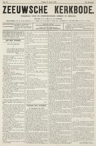 Zeeuwsche kerkbode, weekblad gewijd aan de belangen der gereformeerde kerken/ Zeeuwsch kerkblad 1938-04-08