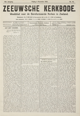 Zeeuwsche kerkbode, weekblad gewijd aan de belangen der gereformeerde kerken/ Zeeuwsch kerkblad 1926-11-05