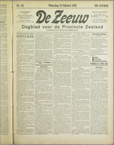 De Zeeuw. Christelijk-historisch nieuwsblad voor Zeeland 1929-02-13