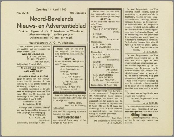 Noord-Bevelands Nieuws- en advertentieblad 1945-04-14