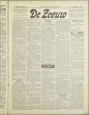 De Zeeuw. Christelijk-historisch nieuwsblad voor Zeeland 1934-04-25
