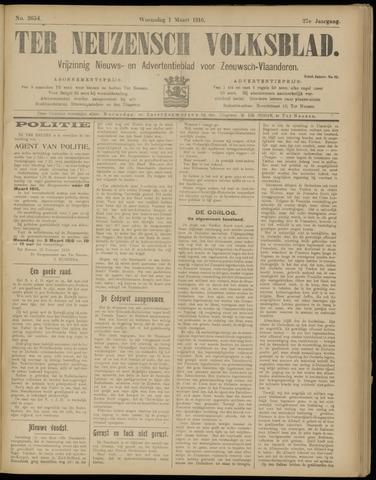 Ter Neuzensch Volksblad. Vrijzinnig nieuws- en advertentieblad voor Zeeuwsch- Vlaanderen / Zeeuwsch Nieuwsblad. Nieuws- en advertentieblad voor Zeeland 1916-03-01