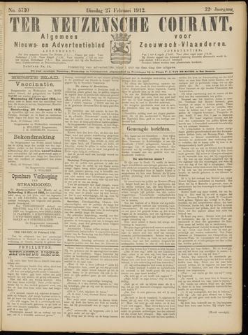 Ter Neuzensche Courant. Algemeen Nieuws- en Advertentieblad voor Zeeuwsch-Vlaanderen / Neuzensche Courant ... (idem) / (Algemeen) nieuws en advertentieblad voor Zeeuwsch-Vlaanderen 1912-02-27