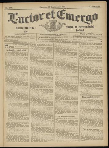 Luctor et Emergo. Antirevolutionair nieuws- en advertentieblad voor Zeeland / Zeeuwsch-Vlaanderen. Orgaan ter verspreiding van de christelijke beginselen in Zeeuwsch-Vlaanderen 1913-09-13