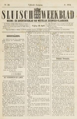 Sluisch Weekblad. Nieuws- en advertentieblad voor Westelijk Zeeuwsch-Vlaanderen 1874-04-24