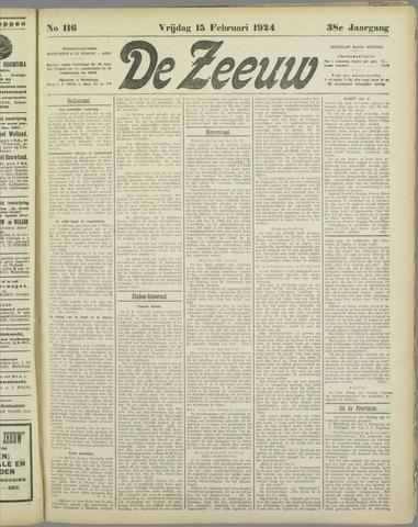 De Zeeuw. Christelijk-historisch nieuwsblad voor Zeeland 1924-02-15