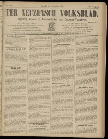 Ter Neuzensch Volksblad. Vrijzinnig nieuws- en advertentieblad voor Zeeuwsch- Vlaanderen / Zeeuwsch Nieuwsblad. Nieuws- en advertentieblad voor Zeeland 1915-09-18