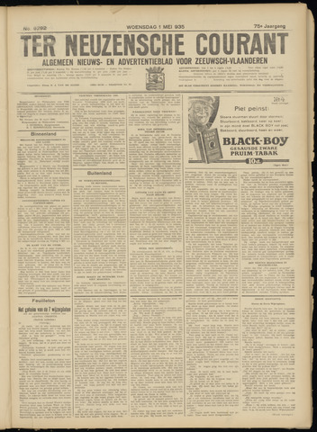 Ter Neuzensche Courant. Algemeen Nieuws- en Advertentieblad voor Zeeuwsch-Vlaanderen / Neuzensche Courant ... (idem) / (Algemeen) nieuws en advertentieblad voor Zeeuwsch-Vlaanderen 1935-05-01