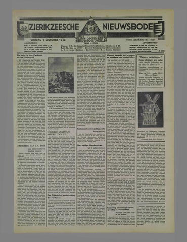 Zierikzeesche Nieuwsbode 1942-10-09