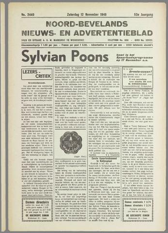 Noord-Bevelands Nieuws- en advertentieblad 1949-11-12