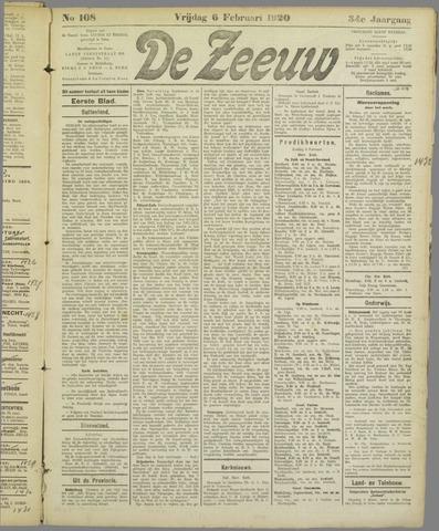 De Zeeuw. Christelijk-historisch nieuwsblad voor Zeeland 1920-02-06