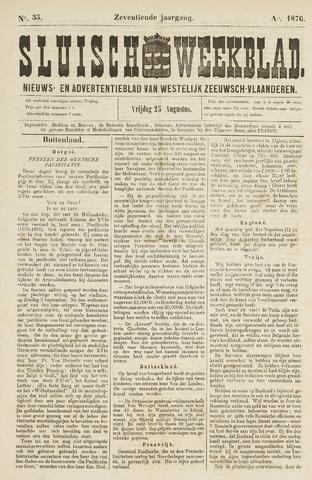 Sluisch Weekblad. Nieuws- en advertentieblad voor Westelijk Zeeuwsch-Vlaanderen 1876-08-25