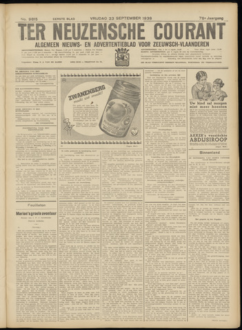 Ter Neuzensche Courant. Algemeen Nieuws- en Advertentieblad voor Zeeuwsch-Vlaanderen / Neuzensche Courant ... (idem) / (Algemeen) nieuws en advertentieblad voor Zeeuwsch-Vlaanderen 1938-09-23