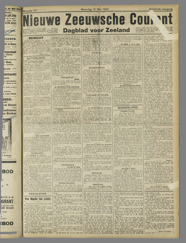 Nieuwe Zeeuwsche Courant 1920-05-31
