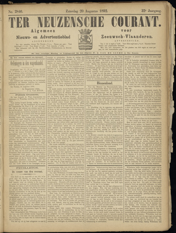 Ter Neuzensche Courant. Algemeen Nieuws- en Advertentieblad voor Zeeuwsch-Vlaanderen / Neuzensche Courant ... (idem) / (Algemeen) nieuws en advertentieblad voor Zeeuwsch-Vlaanderen 1892-08-20
