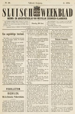 Sluisch Weekblad. Nieuws- en advertentieblad voor Westelijk Zeeuwsch-Vlaanderen 1874-06-30