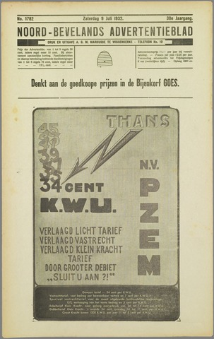 Noord-Bevelands Nieuws- en advertentieblad 1932-07-09