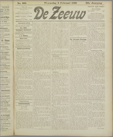 De Zeeuw. Christelijk-historisch nieuwsblad voor Zeeland 1916-02-02