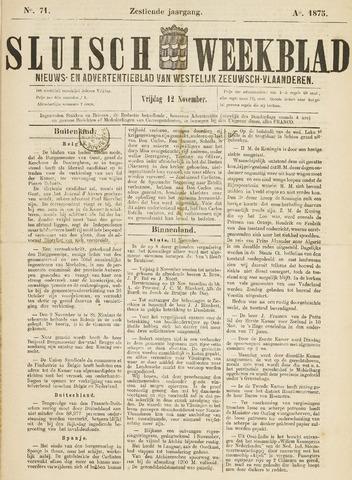 Sluisch Weekblad. Nieuws- en advertentieblad voor Westelijk Zeeuwsch-Vlaanderen 1875-11-12
