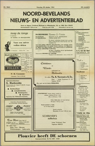 Noord-Bevelands Nieuws- en advertentieblad 1961-10-28