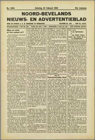 Noord-Bevelands Nieuws- en advertentieblad 1950-02-25