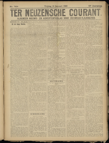 Ter Neuzensche Courant. Algemeen Nieuws- en Advertentieblad voor Zeeuwsch-Vlaanderen / Neuzensche Courant ... (idem) / (Algemeen) nieuws en advertentieblad voor Zeeuwsch-Vlaanderen 1923-01-19
