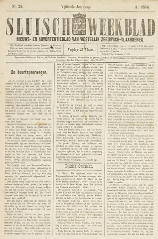 Sluisch Weekblad. Nieuws- en advertentieblad voor Westelijk Zeeuwsch-Vlaanderen 1874-03-27