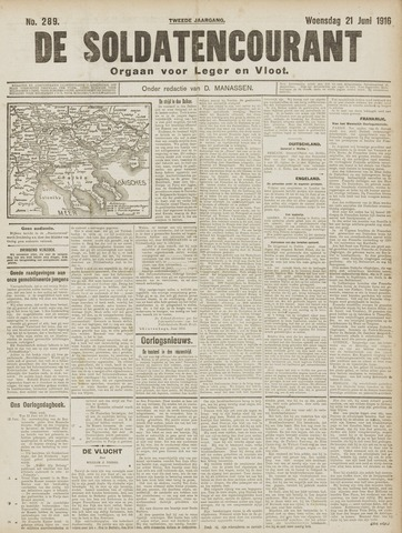 De Soldatencourant. Orgaan voor Leger en Vloot 1916-06-21