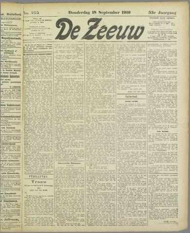 De Zeeuw. Christelijk-historisch nieuwsblad voor Zeeland 1919-09-18