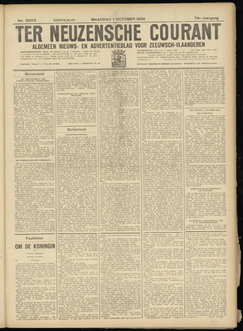 Ter Neuzensche Courant. Algemeen Nieuws- en Advertentieblad voor Zeeuwsch-Vlaanderen / Neuzensche Courant ... (idem) / (Algemeen) nieuws en advertentieblad voor Zeeuwsch-Vlaanderen 1934-10-01