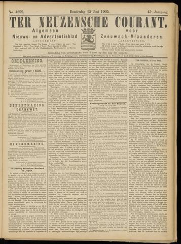 Ter Neuzensche Courant. Algemeen Nieuws- en Advertentieblad voor Zeeuwsch-Vlaanderen / Neuzensche Courant ... (idem) / (Algemeen) nieuws en advertentieblad voor Zeeuwsch-Vlaanderen 1905-06-15