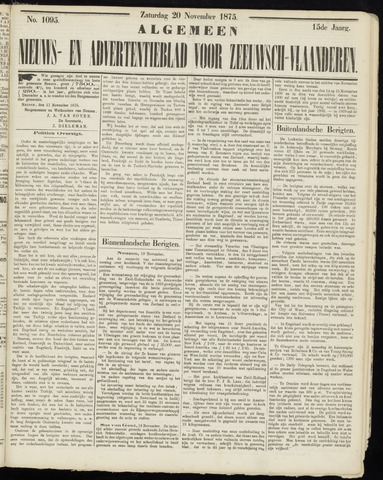 Ter Neuzensche Courant. Algemeen Nieuws- en Advertentieblad voor Zeeuwsch-Vlaanderen / Neuzensche Courant ... (idem) / (Algemeen) nieuws en advertentieblad voor Zeeuwsch-Vlaanderen 1875-11-20