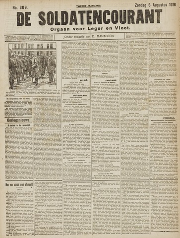 De Soldatencourant. Orgaan voor Leger en Vloot 1916-08-06