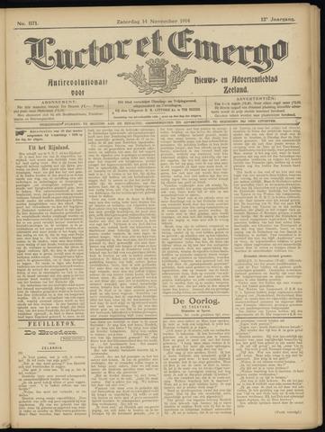 Luctor et Emergo. Antirevolutionair nieuws- en advertentieblad voor Zeeland / Zeeuwsch-Vlaanderen. Orgaan ter verspreiding van de christelijke beginselen in Zeeuwsch-Vlaanderen 1914-11-14