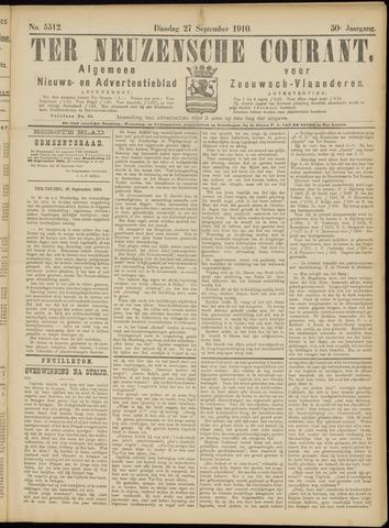 Ter Neuzensche Courant. Algemeen Nieuws- en Advertentieblad voor Zeeuwsch-Vlaanderen / Neuzensche Courant ... (idem) / (Algemeen) nieuws en advertentieblad voor Zeeuwsch-Vlaanderen 1910-09-27