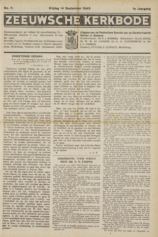Zeeuwsche kerkbode, weekblad gewijd aan de belangen der gereformeerde kerken/ Zeeuwsch kerkblad 1945-09-14