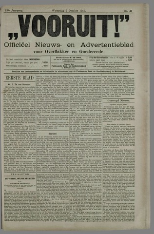 """""""Vooruit!""""Officieel Nieuws- en Advertentieblad voor Overflakkee en Goedereede 1915-10-06"""