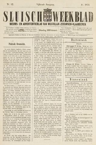 Sluisch Weekblad. Nieuws- en advertentieblad voor Westelijk Zeeuwsch-Vlaanderen 1874-02-10