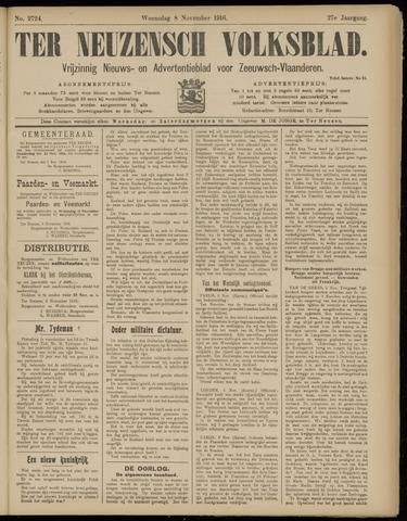 Ter Neuzensch Volksblad. Vrijzinnig nieuws- en advertentieblad voor Zeeuwsch- Vlaanderen / Zeeuwsch Nieuwsblad. Nieuws- en advertentieblad voor Zeeland 1916-11-08