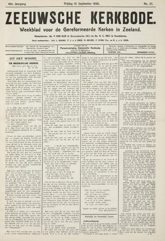 Zeeuwsche kerkbode, weekblad gewijd aan de belangen der gereformeerde kerken/ Zeeuwsch kerkblad 1926-09-10