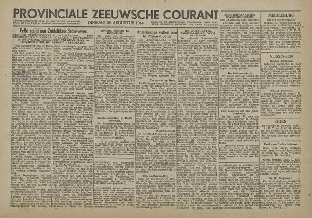 Provinciale Zeeuwse Courant 1944-08-29