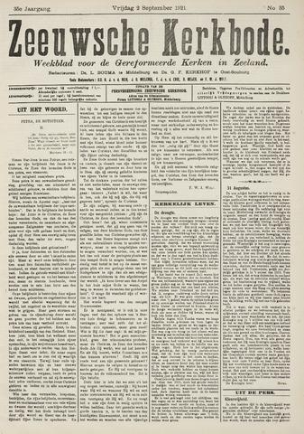 Zeeuwsche kerkbode, weekblad gewijd aan de belangen der gereformeerde kerken/ Zeeuwsch kerkblad 1921-09-02