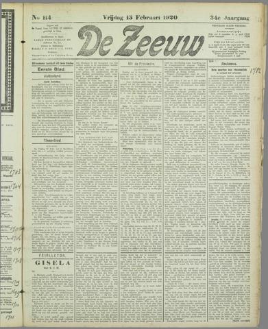 De Zeeuw. Christelijk-historisch nieuwsblad voor Zeeland 1920-02-13
