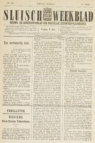 Sluisch Weekblad. Nieuws- en advertentieblad voor Westelijk Zeeuwsch-Vlaanderen 1874-07-03