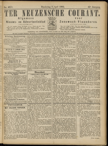 Ter Neuzensche Courant. Algemeen Nieuws- en Advertentieblad voor Zeeuwsch-Vlaanderen / Neuzensche Courant ... (idem) / (Algemeen) nieuws en advertentieblad voor Zeeuwsch-Vlaanderen 1905-04-06