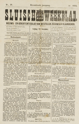 Sluisch Weekblad. Nieuws- en advertentieblad voor Westelijk Zeeuwsch-Vlaanderen 1876-12-22